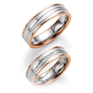 Silberne Eheringe mit rosegoldenem Rand