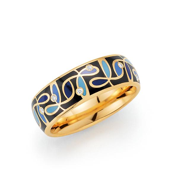 Goldener Ring mit schwarzgoldenem Muster
