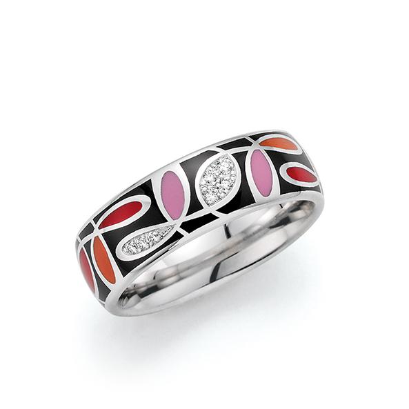 Schwarzsilberner Ring mit buntem Muster