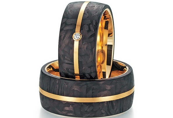 Fischer Trauringe Carbon Apricotgold