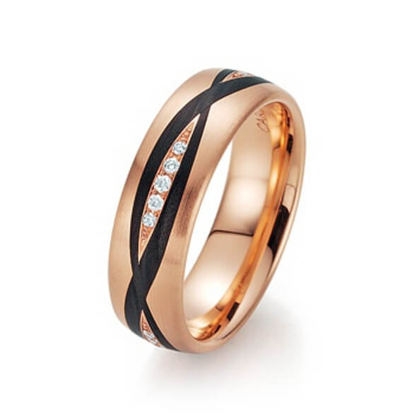 Goldschwarzer Ring mit Steinen