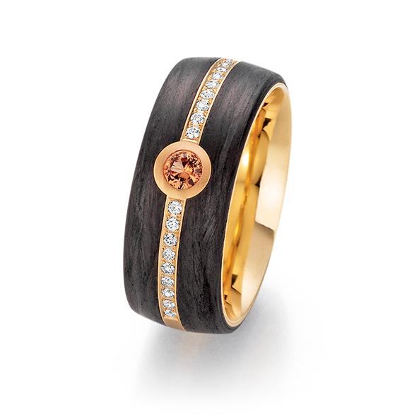 Schwarzgoldener Ring mit Stein